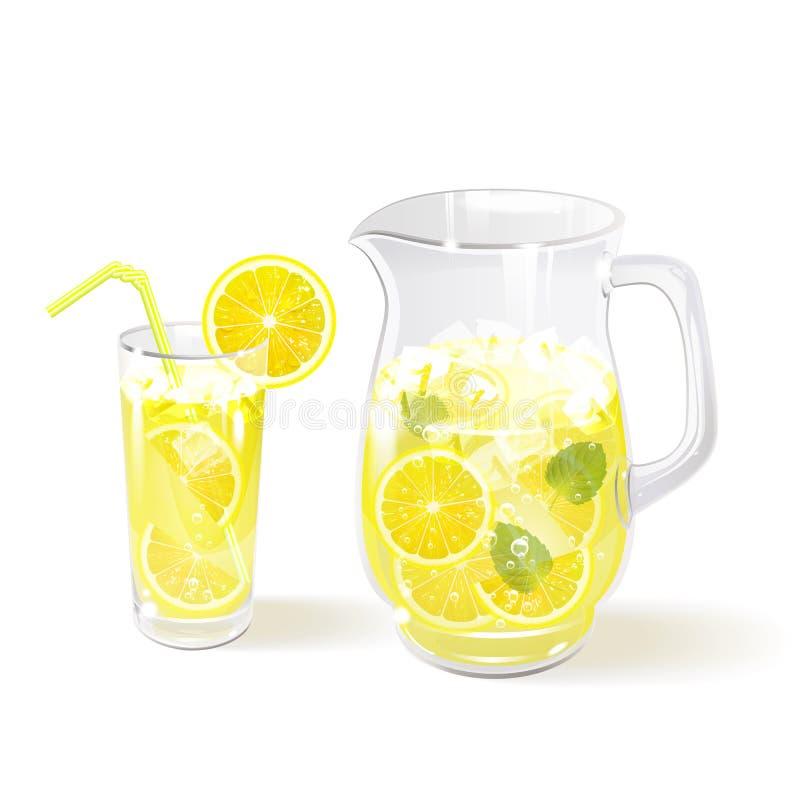 Lemonad i en tillbringare och ett exponeringsglas royaltyfri illustrationer