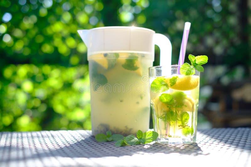 Lemonad i plast- karaff royaltyfria foton