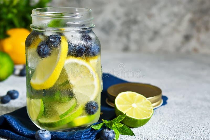Lemonad med limefrukt, citronen och bl?b?r royaltyfria foton