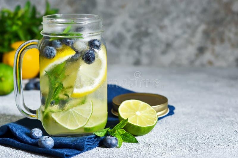 Lemonad med limefrukt, citronen och bl?b?r royaltyfri bild
