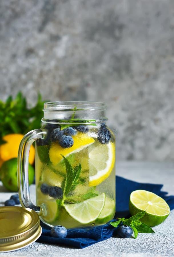 Lemonad med limefrukt, citronen och bl?b?r royaltyfria bilder