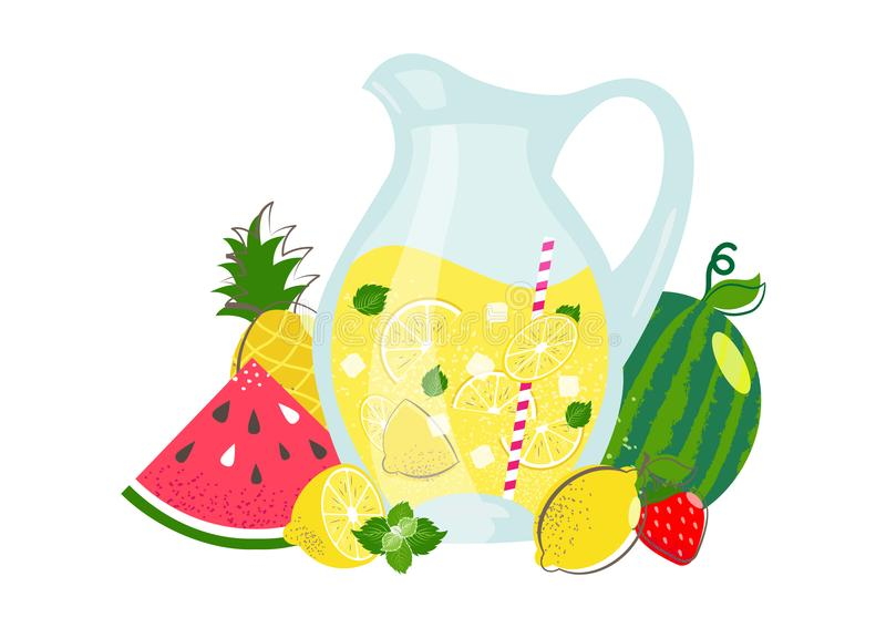 Lemonad- och sommarfrukter stock illustrationer