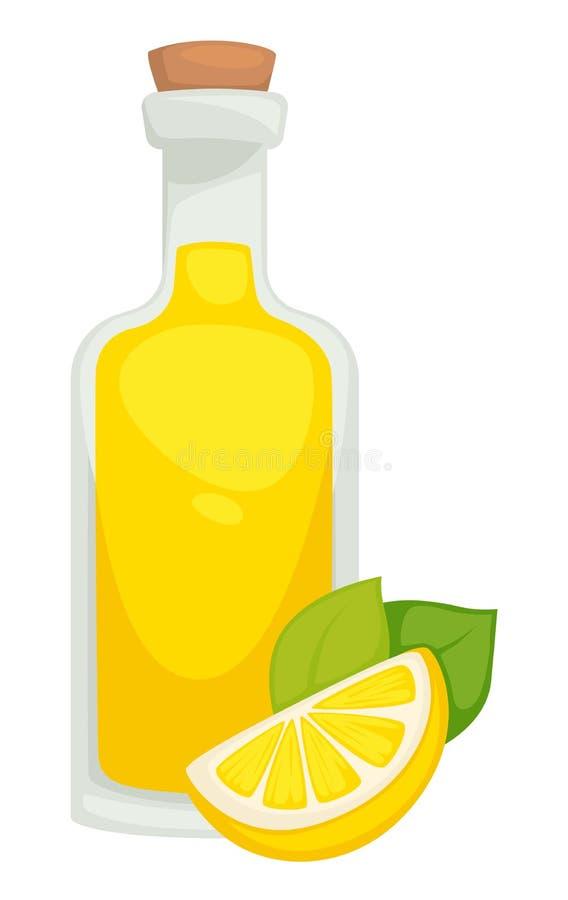 Lemonade in bottle lemon drink homemade natural beverage vector illustration