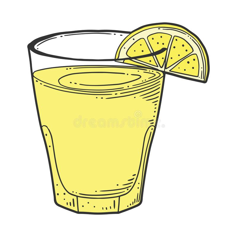 Lemonade cup with lemon slice. Vector concept in doodle and sketch style. Hand drawn illustration for printing on T-shirts, postcards. Icon and logo idea stock illustration