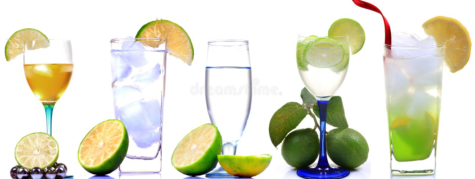 Lemonade drinks. Looking beautiful over white background royalty free stock images