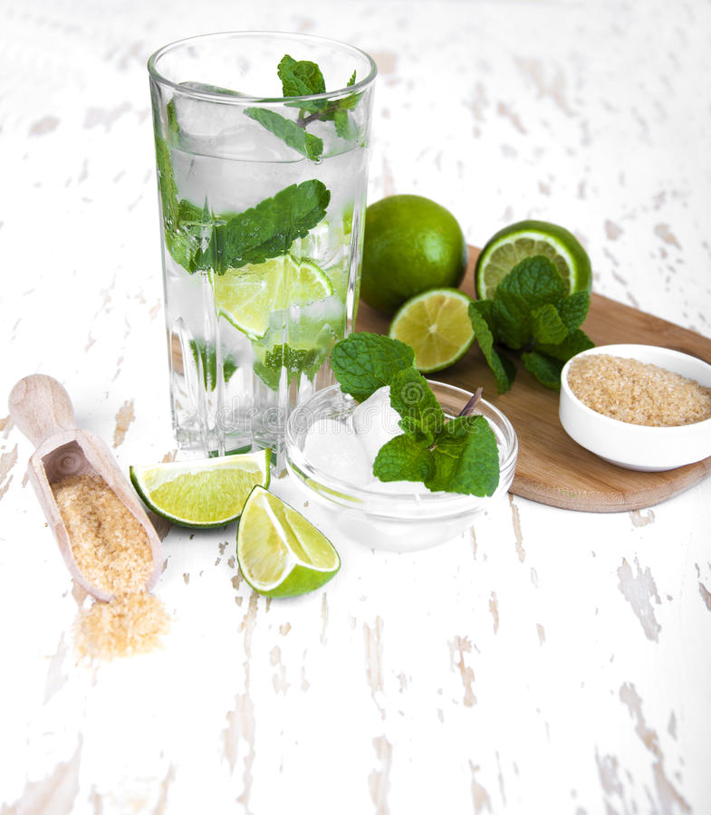 Lemonade. Fresh limes and mint on wooden background stock photography