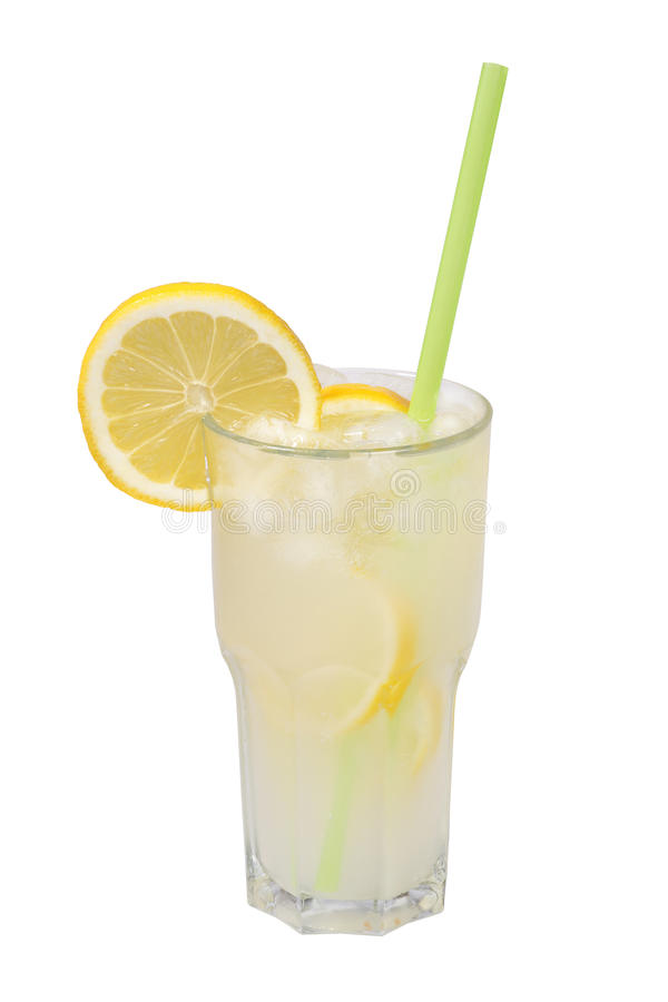 Lemonade in a glass isolated royalty free stock photo