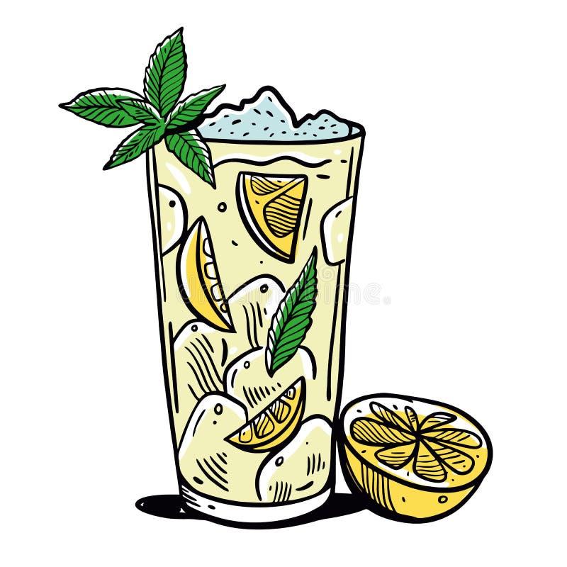 Lemonade glass with slice of lemons and lemon. Hand drawn vector illustration stock illustration