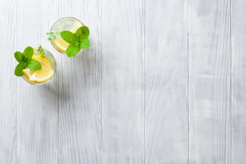 Lemonade glasses stock photos