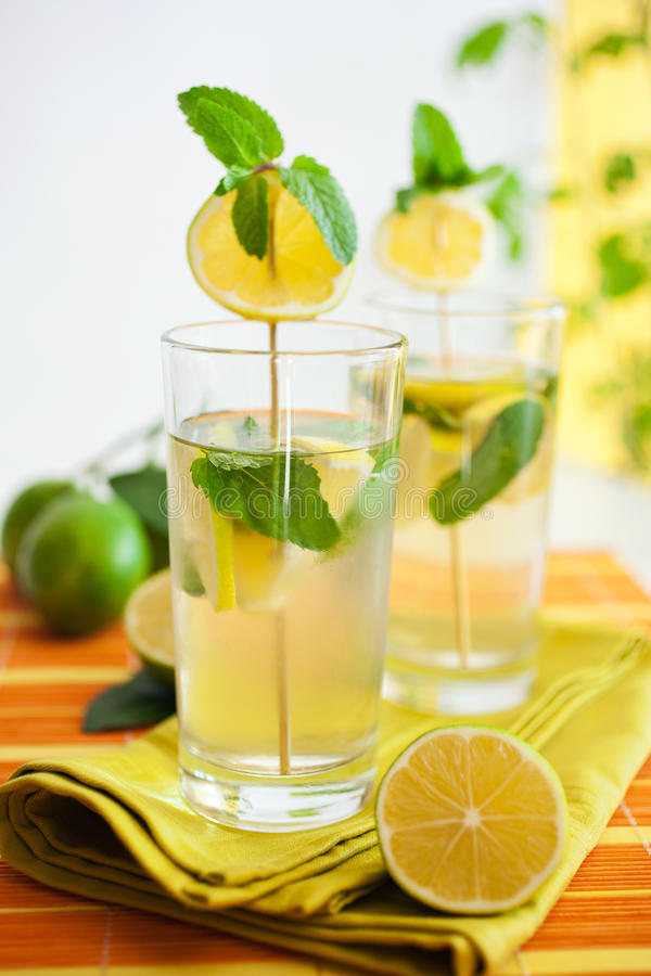 Download Lemonade with herbs stock photo. Image of yellow, cold - 21882340