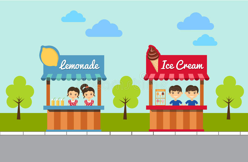 Lemonade And Ice Cream Stands. Vector Illustration royalty free illustration