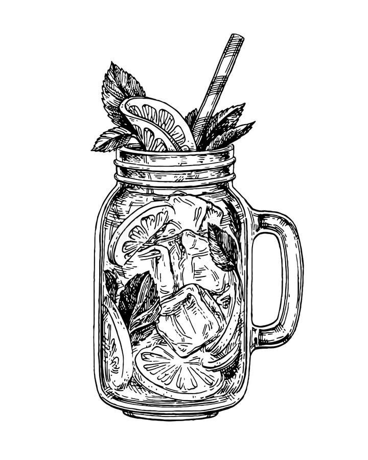 Lemonade ink sketch. Lemonade in mason jar. Retro style ink sketch isolated on white background. Hand drawn vector illustration of mojito royalty free illustration