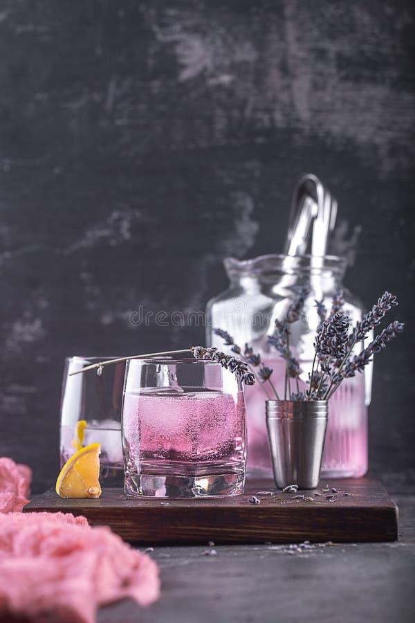 lemonade with lavender and lemon slice royalty free stock image