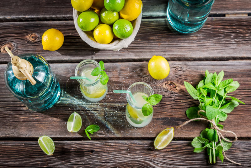 Lemonade made of fresh fruits stock photos