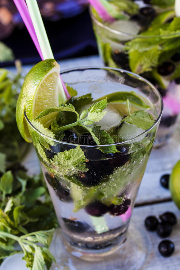 Lemonade mojito with lime, blackcurrant and mint. Summer lemonade mojito with lime, blackcurrant and mint royalty free stock photo