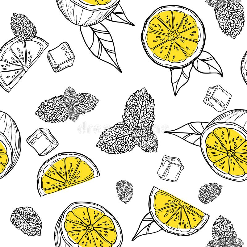 Lemonade, mojito seamless pattern. Cute tropical citrus fruits background set with simple design for summer. Lemonade, mojito seamless pattern. Cute tropical royalty free illustration