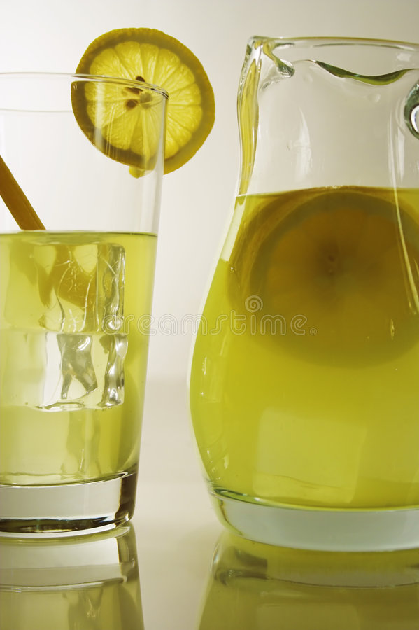Lemonade in pitcher royalty free stock photo