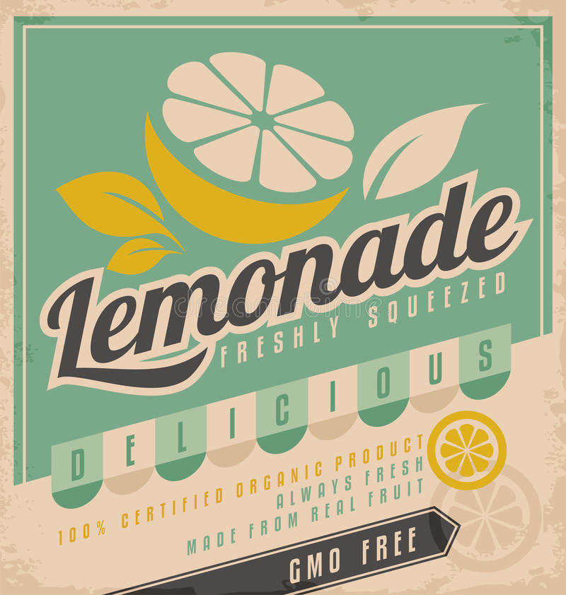 Lemonade. Retro poster design for ice cold lemonade. Vintage label for gmo free organic fruit product. Food and drink promotional ad template creative concept
