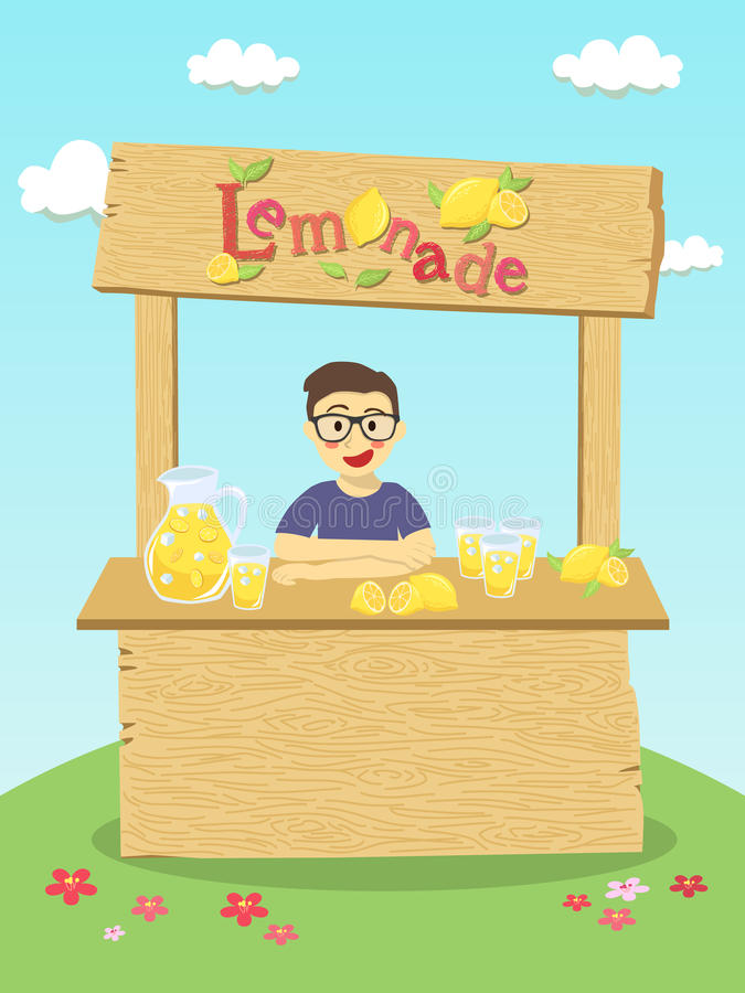 Lemonade Stand Boy stock illustration
