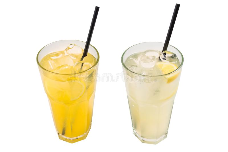 Lemonade two kinds with ice cubes and sliced lemon isolated on white background. royalty free stock photo