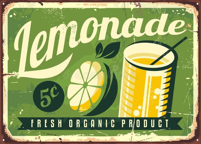 Lemonade vintage tin sign. Retro advertisement with lemon slice and glass of fresh lemonade royalty free illustration