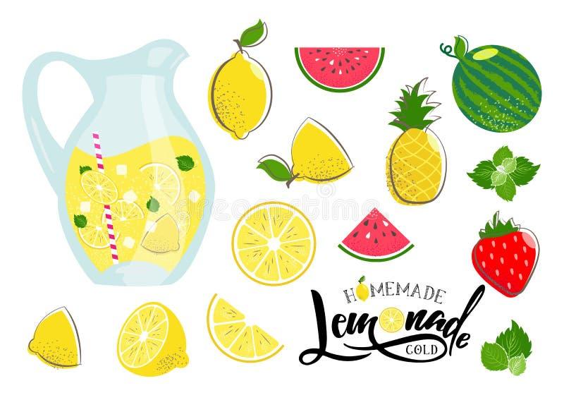 Lemonadsommaruppsättning vektor illustrationer