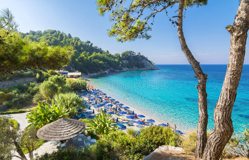 Lemonakia-Strand auf Samos-Insel lizenzfreies stockfoto
