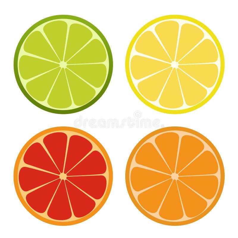 Lemone, ασβέστης, πορτοκαλί εικονίδιο Σύνολο εσπεριδοειδών Αναζωογονώντας ποτό επίσης corel σύρετε το διάνυσμα απεικόνισης απεικόνιση αποθεμάτων