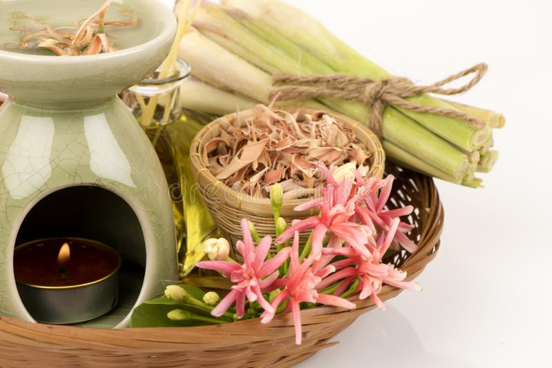 Lemongrass, fresh and dried on white background. royalty free stock images