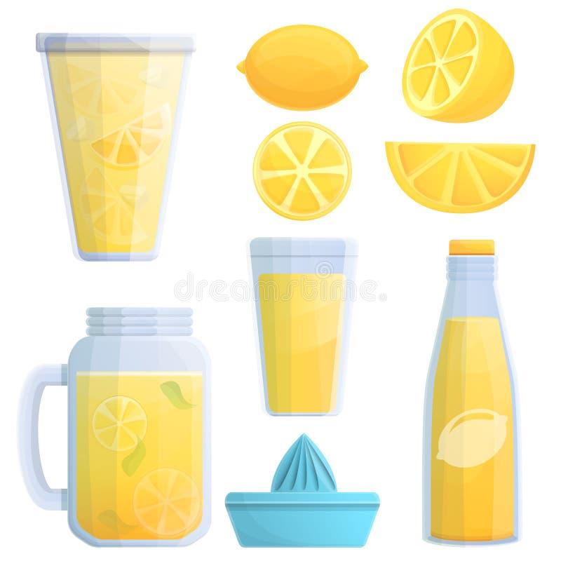 Lemoniad ikony ustawiać, kreskówka styl ilustracji