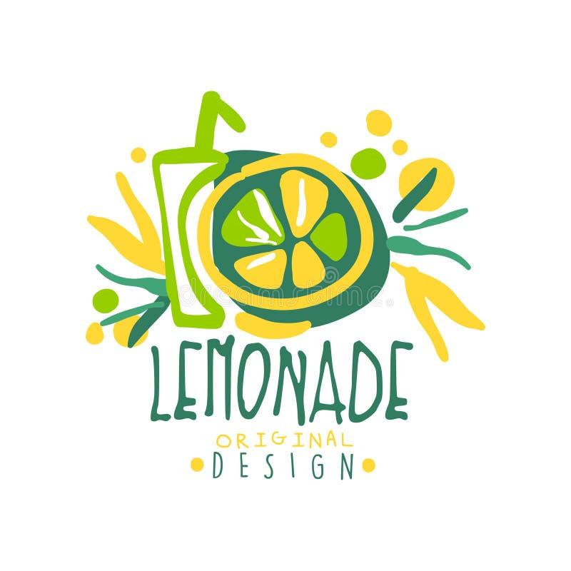 Lemoniada projekta oryginalny logo, naturalna zdrowa produkt odznaka, świeża kolorowa ręka rysujący cytrusa napoju wektor ilustracja wektor