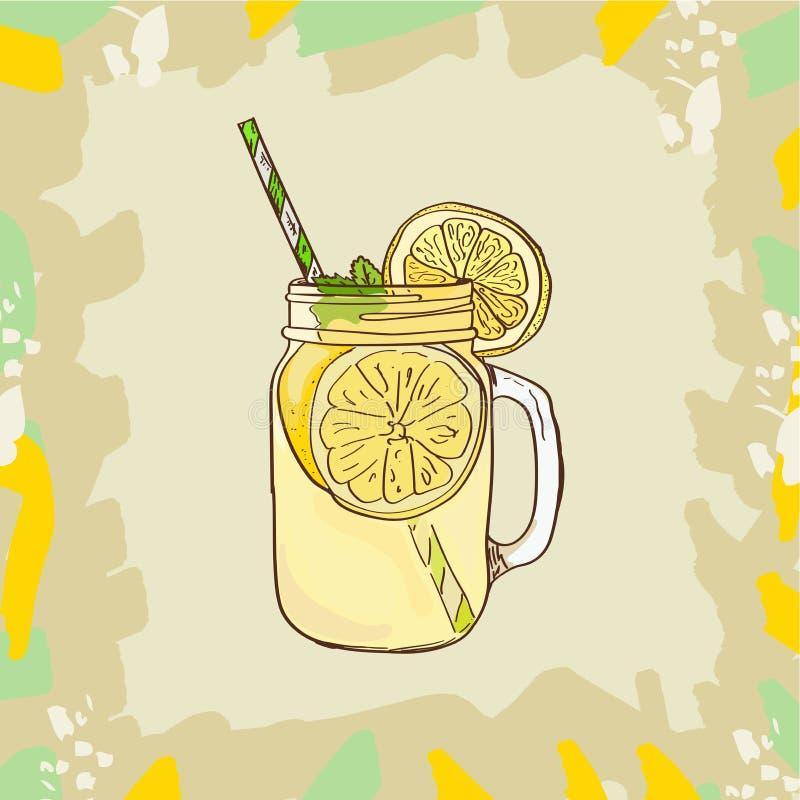 Lemoniada w kamieniarza słoju kubku z pić słomy i cytryny klin Odświeżającego lato napoju klamerki sztuki wektorowa ilustracja ilustracji