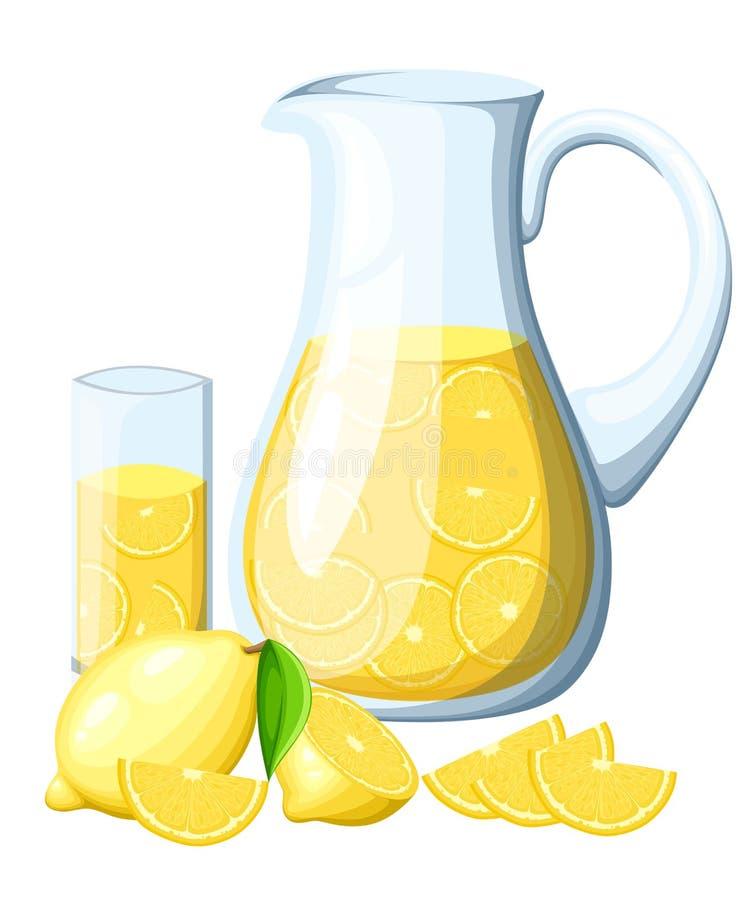Lemoniada w szklanym miotaczu Cytryna z liśćmi całymi i plasterkami cytryny Dekoracyjny plakat, emblemata naturalny produkt, roln ilustracja wektor