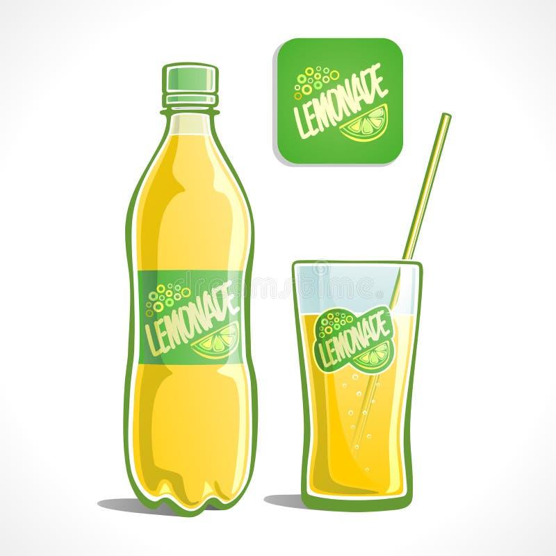 Lemoniada w szkle i butelce ilustracja wektor