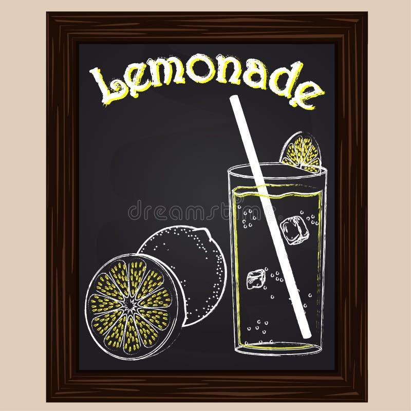 Lemoniada w szkle z cytryną ilustracji