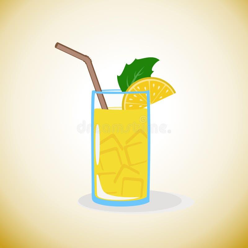 Lemoniada z cytryną i lodem royalty ilustracja