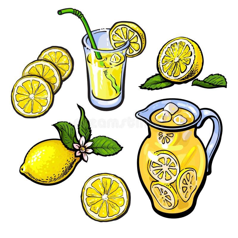 Lemoniada z cytryną w przejrzystym dzbanku royalty ilustracja