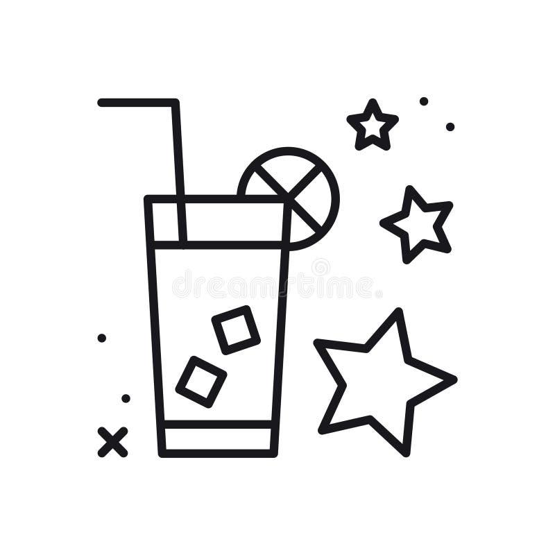 Lemoniady cienka kreskowa ikona lodu biel odosobniony herbaciany Napoju zimna napój Wektorowy prosty liniowy projekt ilustracja s ilustracji