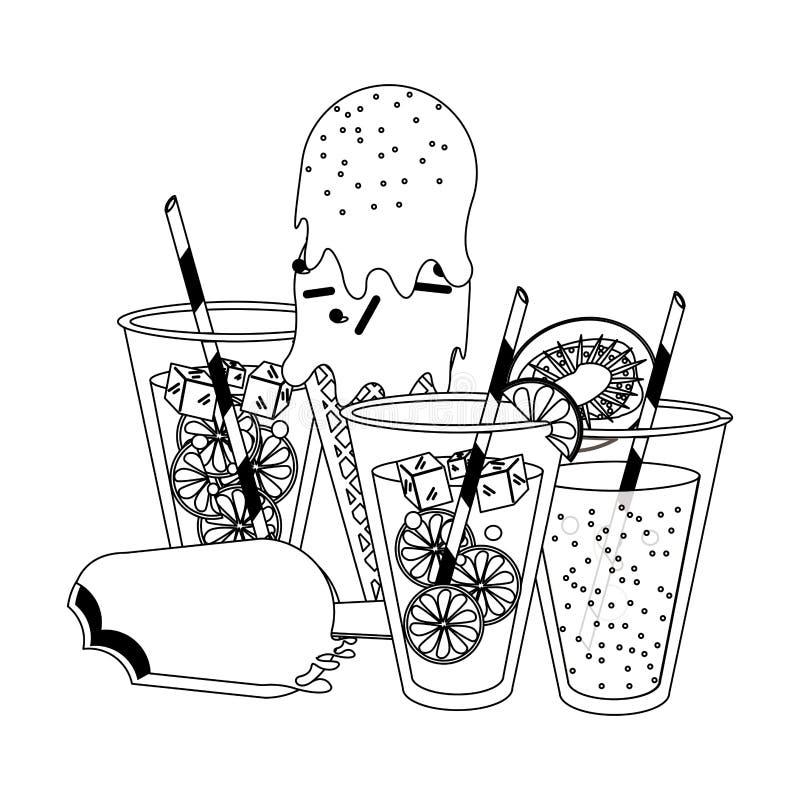 Lemoniady i pomarańcze filiżanki z ilustracji