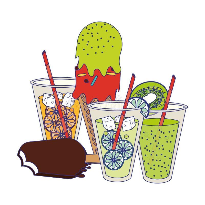 Lemoniady i pomarańcze filiżanki z ilustracja wektor