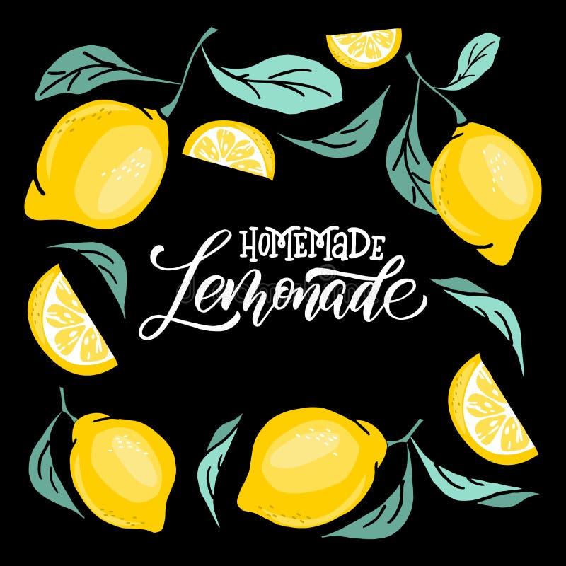 Lemoniady literowanie z cytryny etykietką Szczotkarska kaligrafia słowo lemoniada ilustracji
