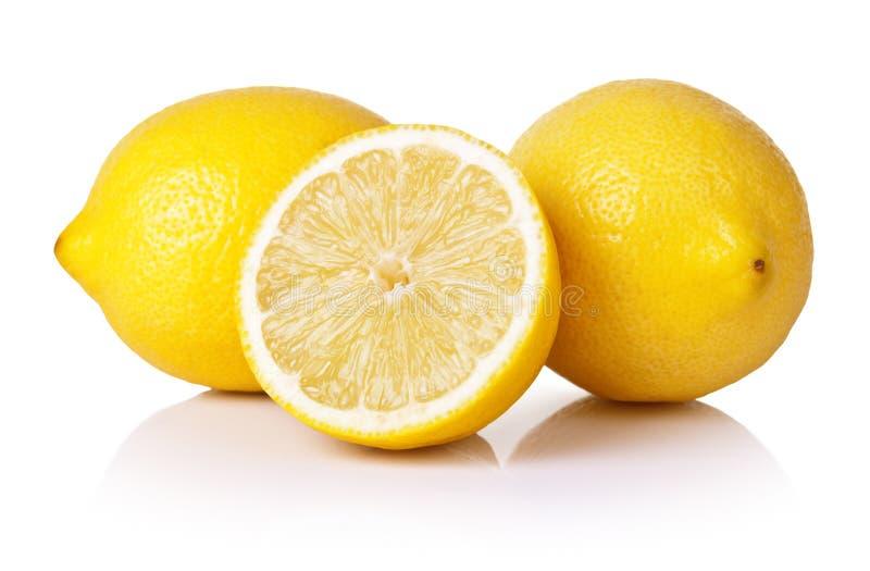 Lemons. Fresh lemons on white background royalty free stock photography