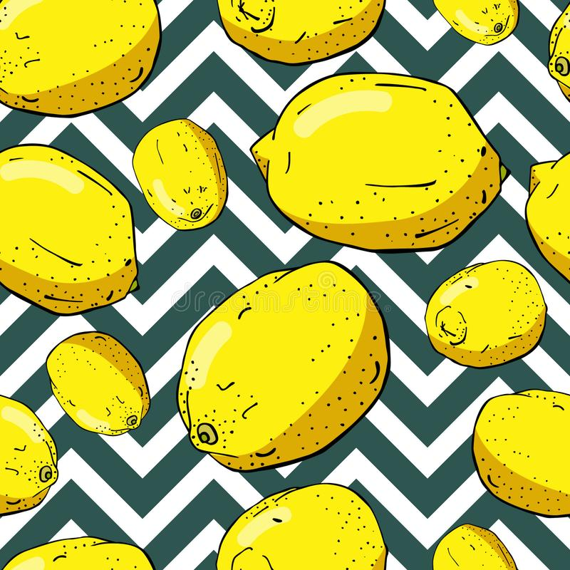 Free Lemons And Zigzags Seamless Pattern Royalty Free Stock Photography - 162759037