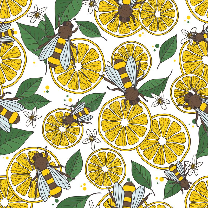 Lemons, bees and leaves, decorative hand drawn background. Colorful seamless pattern with citrus fruits and flying insects vector illustration