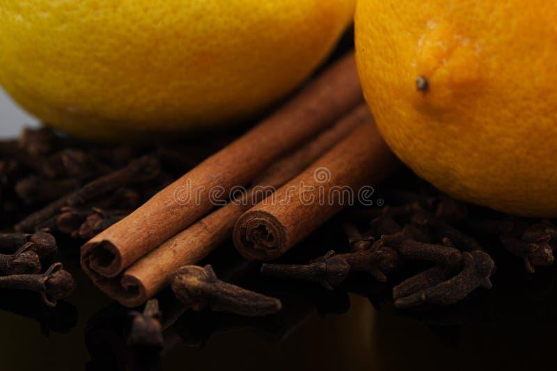 Lemons, cinnamon and cloves royalty free stock photography