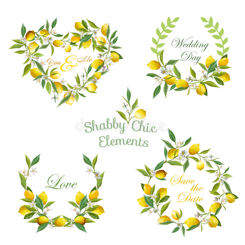 Lemons, Flowers, Leaves Banners and Tags. Floral Wreath. Vector Set stock illustration