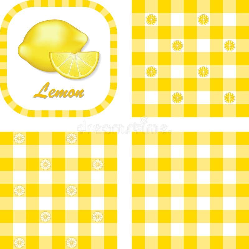 Lemons & Gingham Seamless Patterns Royalty Free Stock Photos