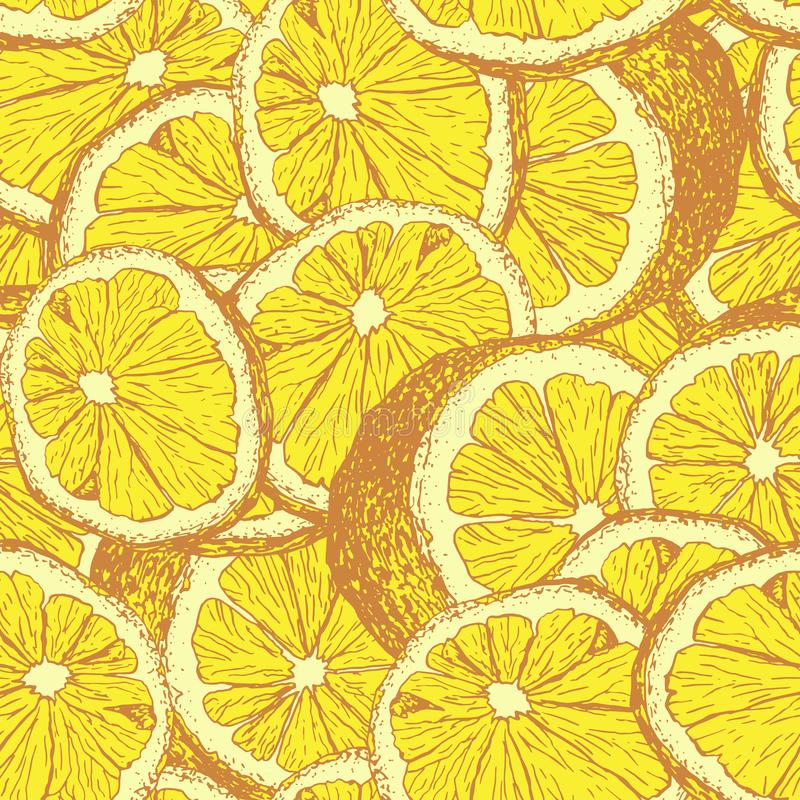 Lemons hand drawn seamless vector pattern. Yellow lemons hand drawn seamless pattern. Sliced citrus color outline drawing. Lemon slices and cuts sketch royalty free illustration