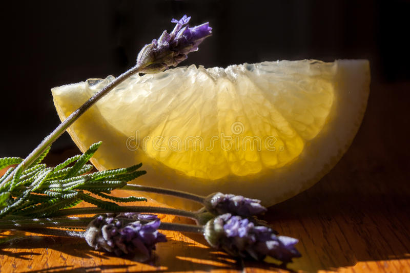 Lemons and lavender royalty free stock photography