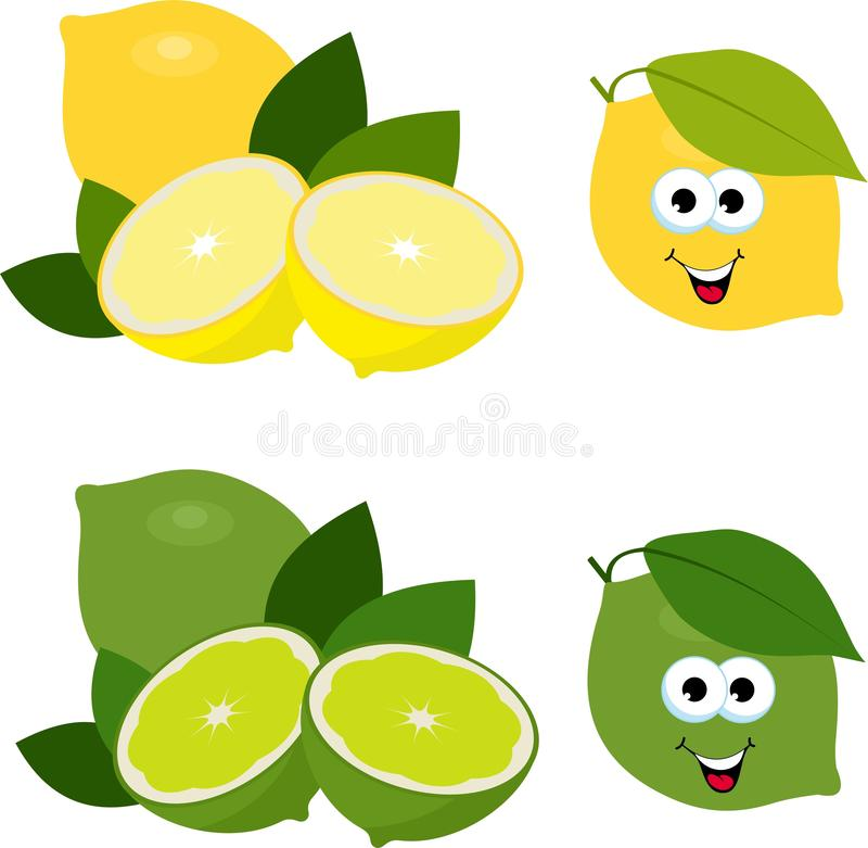 lemons lime Свежие лимон и известка, собрание иллюстраций вектора Изолированный плод всех и отрезка известки и лимона иллюстрация вектора